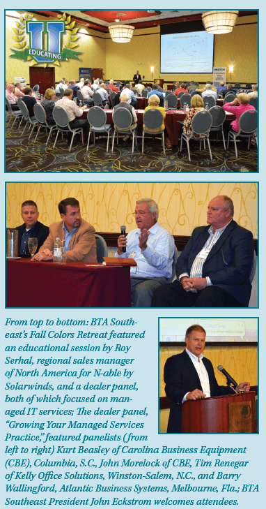 Collage of information about the BTA Fall Colors Retreat, featuring Carolina Business Equipment